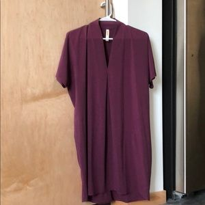 Lucy: plum colored cocoon style athleisure dress